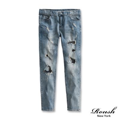 ROUSH 破損水洗刷色牛仔褲