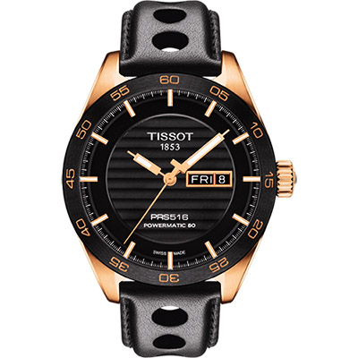 TISSOT PRS516系列時尚機械腕錶-黑x玫塊金框42mm