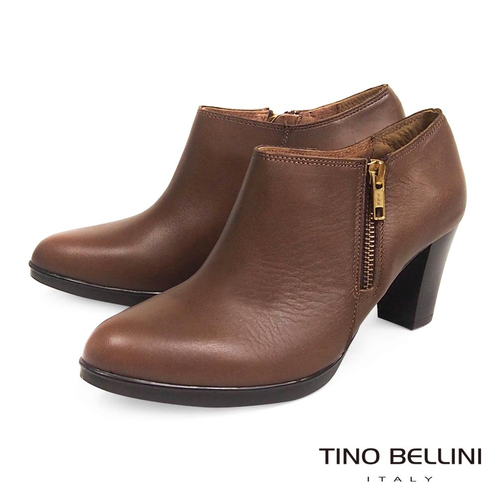 Tino Bellini 西班牙進口典雅真皮革側拉鍊7CM踝靴_棕