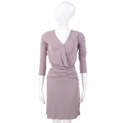 PHILOSOPHY-AF 粉紫色V領七分袖洋裝