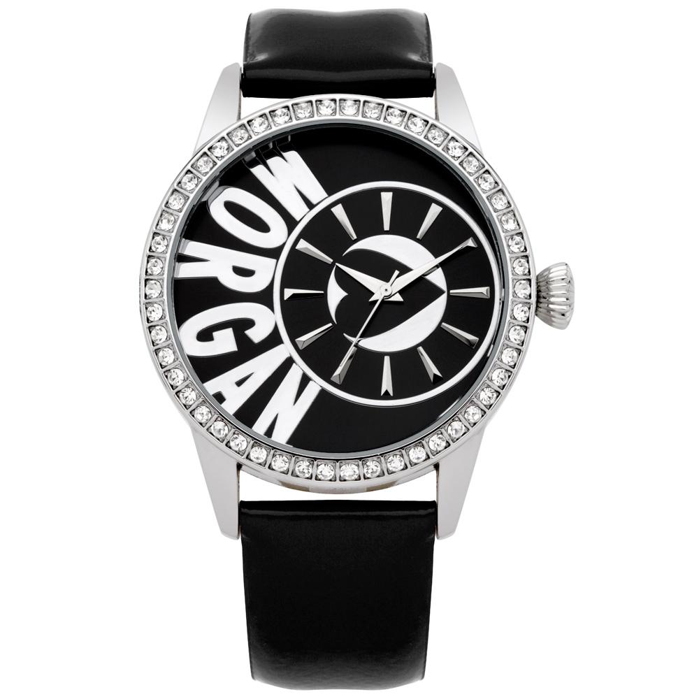 MORGAN 新穎風格晶鑽時尚腕錶-銀x黑/40mm @ Y!購物