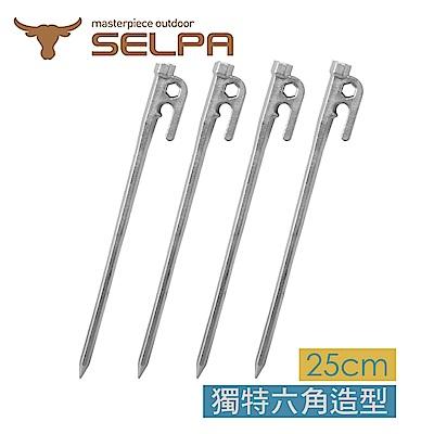 韓國SELPA 頂級不鏽鋼六角營釘 帳篷釘 露營 登山 25cm 四入
