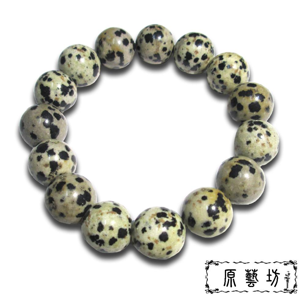 原藝坊 天然斑點石圓珠手鍊 直徑14 mm