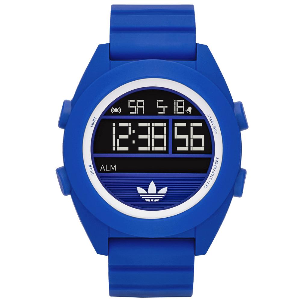 adidas線條創造三葉圓框數位腕錶-藍色48mm