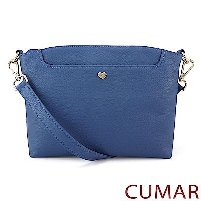 CUMAR 愛心飾釦牛皮小方包-藍