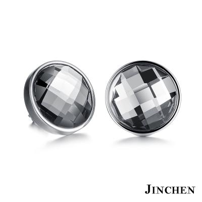 JINCHEN 白鋼圓形水晶耳環 銀色