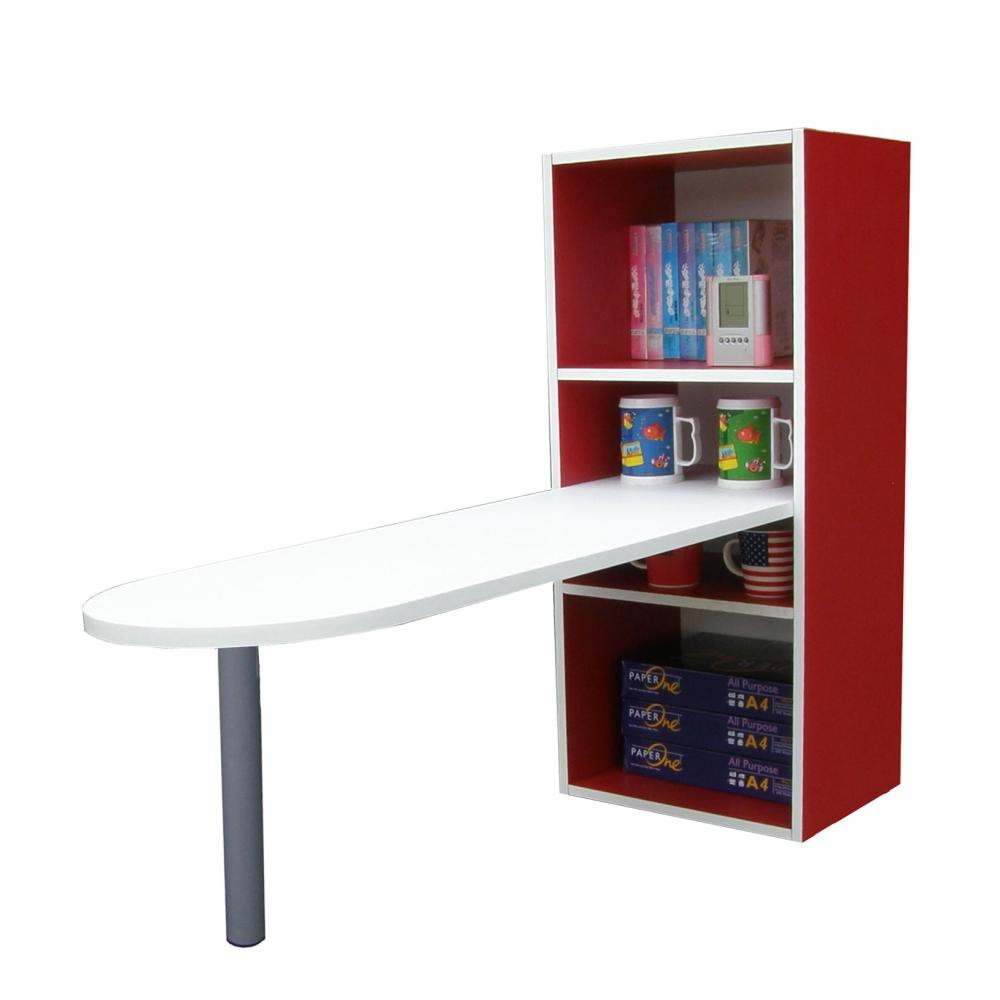 巧菲司2+2格蛋頭形書櫃型電腦桌-含鍵盤抽 (紅白)