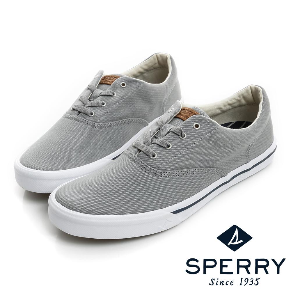 SPERRY Striper 潮流進化吸震減壓帆布休閒鞋(男)-灰
