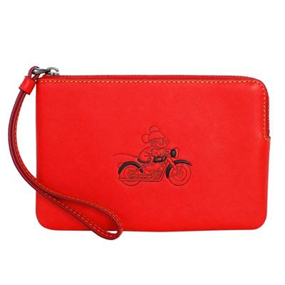 COACH迪士尼聯名款紅色全皮打檔車米奇萬用手拿包