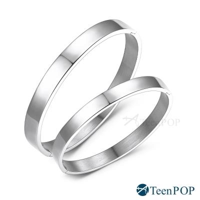 ATeenPOP-西德鋼情侶手環-素面時尚-銀色款