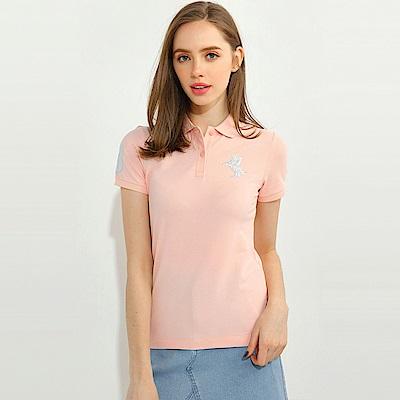 GIORDANO 女裝拿破崙立體刺繡彈力萊卡短袖POLO衫-52 薄紗粉紅