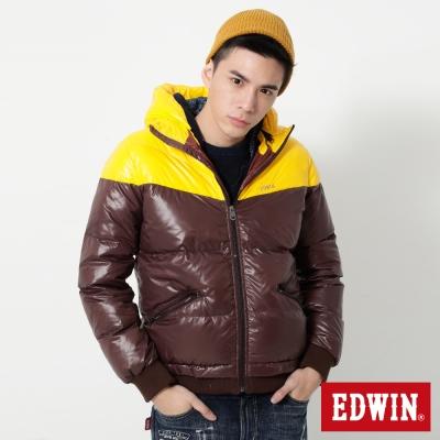 EDWIN 雙色立領帽可拆羽絨外套-男-黃色