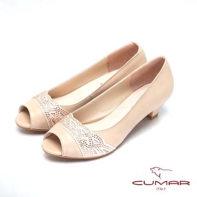 CUMAR-優雅氣質-水鑽低跟魚口鞋-金