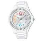 CASIO漾鑽女王簡潔時尚風指針日曆腕錶(LX-500H-7B)白X彩虹數字40.6mm