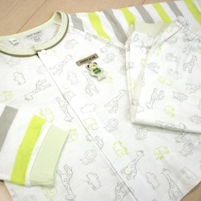GMP BABY 舒適綠條紋動物純棉全開冷氣衫組(衣+褲)