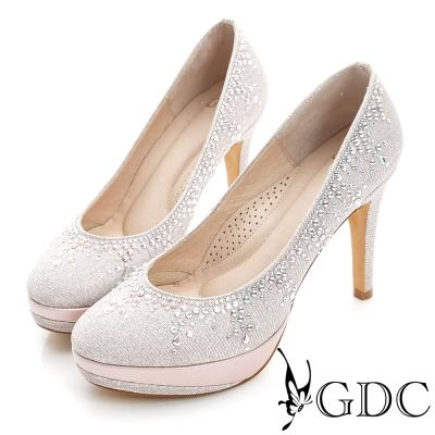 GDC幸福-色彩水鑽防水台真皮高跟鞋(婚鞋)-粉色