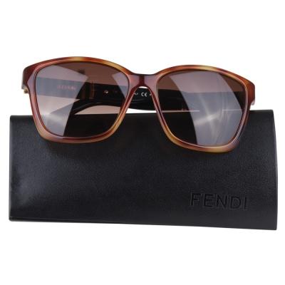FENDI-條紋黑邊架素雅太陽眼鏡-黑邊-咖啡