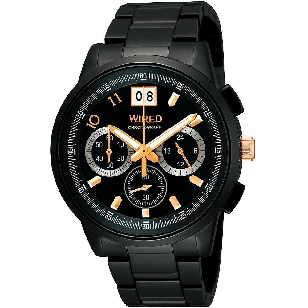 WIRED 國王與你大視窗三眼計時限量腕錶-IP黑/40mm
