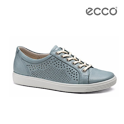 ECCO SOFT 7 LADIES 鏤空蕾絲雕花輕便休閒鞋-藍
