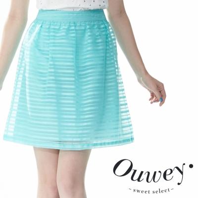 OUWEY歐薇-清透歐根紗線條立體圓裙