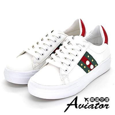 Aviator韓國空運-正韓製奢華撞色蛇紋珠飾休閒鞋-紅