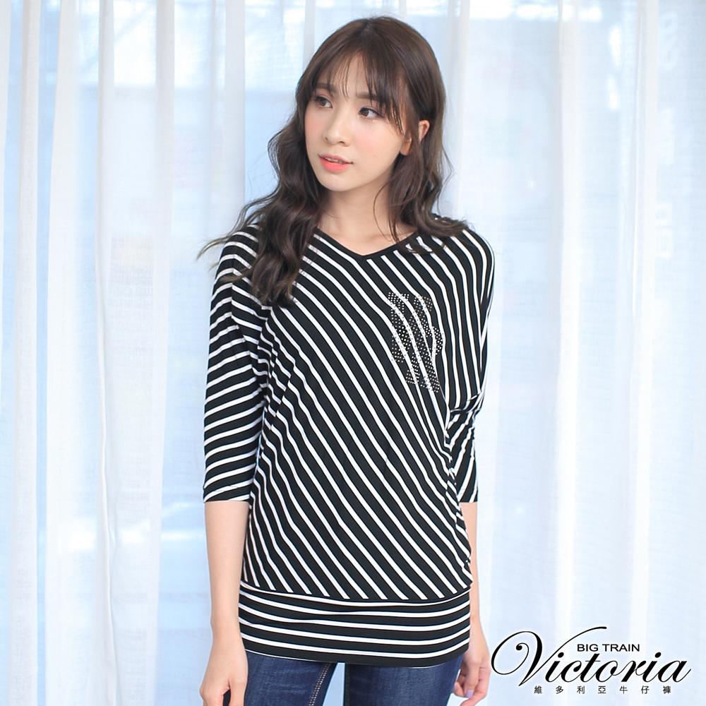 Victoria 直條拼接七分袖T-女-黑底白條