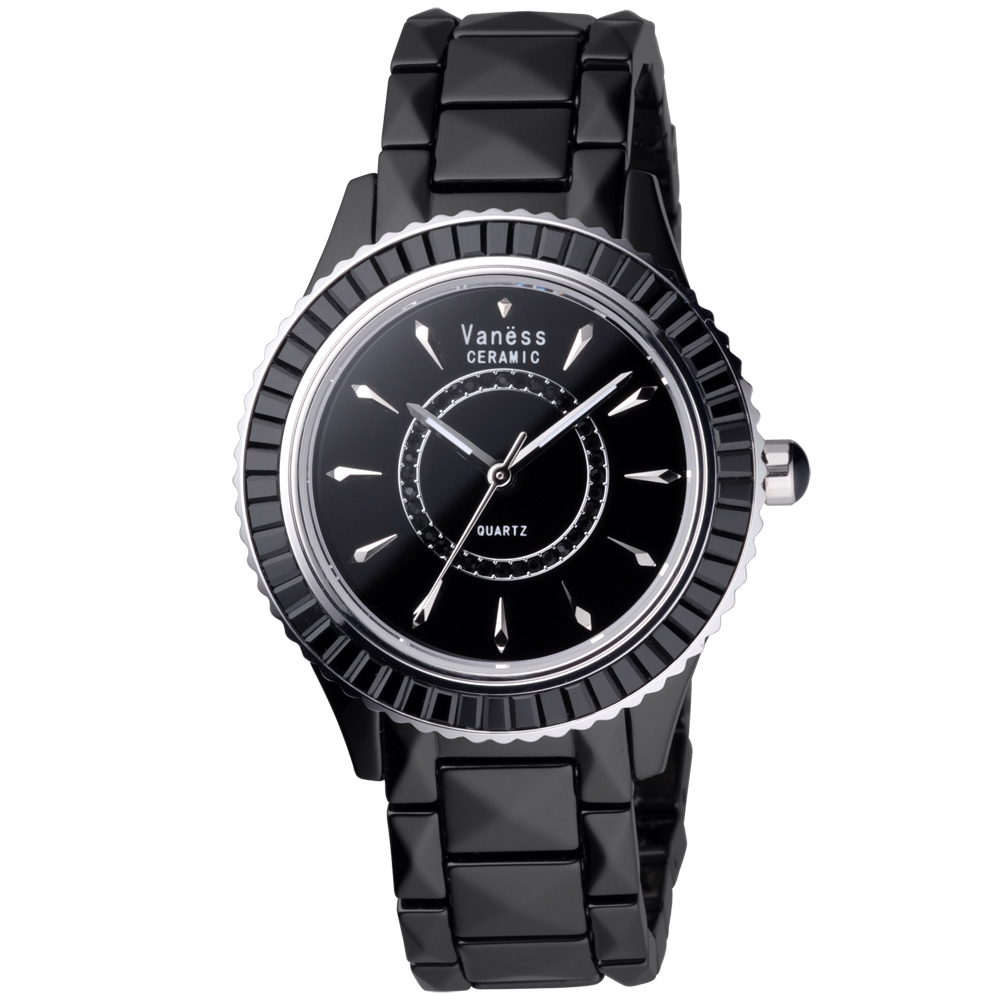 Vaness驚豔之眸晶鑽陶瓷腕錶-黑/38mm