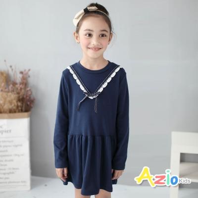 Azio Kids 童裝-洋裝 蝴蝶結V型蕾絲長袖洋裝(藍)