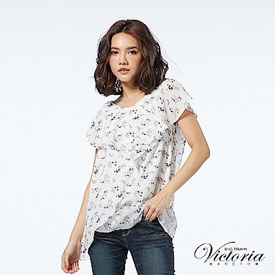 Victoria 荷葉袖花花雪紡短袖T-女-白底花紋