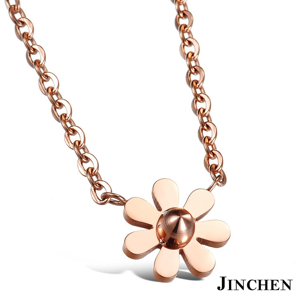JINCHEN 白鋼花朵項鍊-玫瑰金