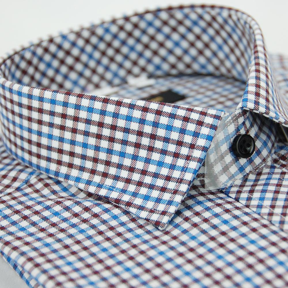 金‧安德森 紅藍白格紋窄版長袖襯衫