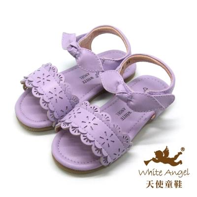 天使童鞋-F5042 俏麗蕾絲雕花涼鞋 (小童)-薰衣草紫