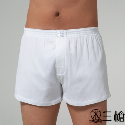三槍牌 4件組時尚型男府綢襯褲 白色
