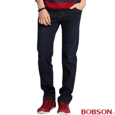 BOBSON 男款保暖低腰膠原蛋白直筒褲