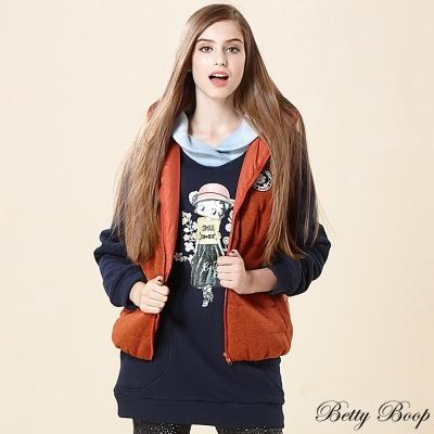 Betty Boop 徽章針織鋪棉連帽背心(共二色)