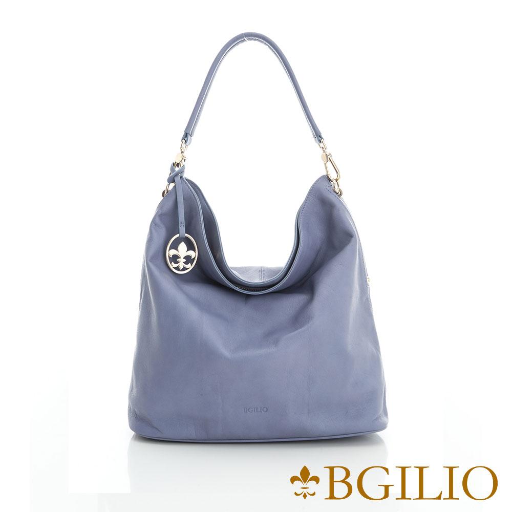 義大利BGilio 義大利水染牛皮簡約帥氣肩背包-淺藍2111.003A-09A