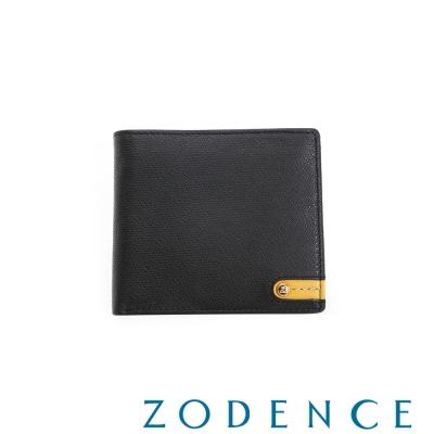 ZODENCE MAN 義大利牛皮系列低調配色LOGO拉鍊零錢袋短夾 黑