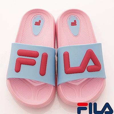 FILA頂級童鞋 輕量止滑拖鞋款 FO31S-535粉藍(中小童段)