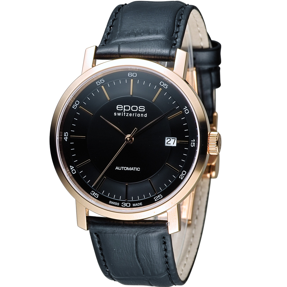EPOS Originale 原創系列 英倫都會紳士機械錶-黑x玫瑰金色/39mm