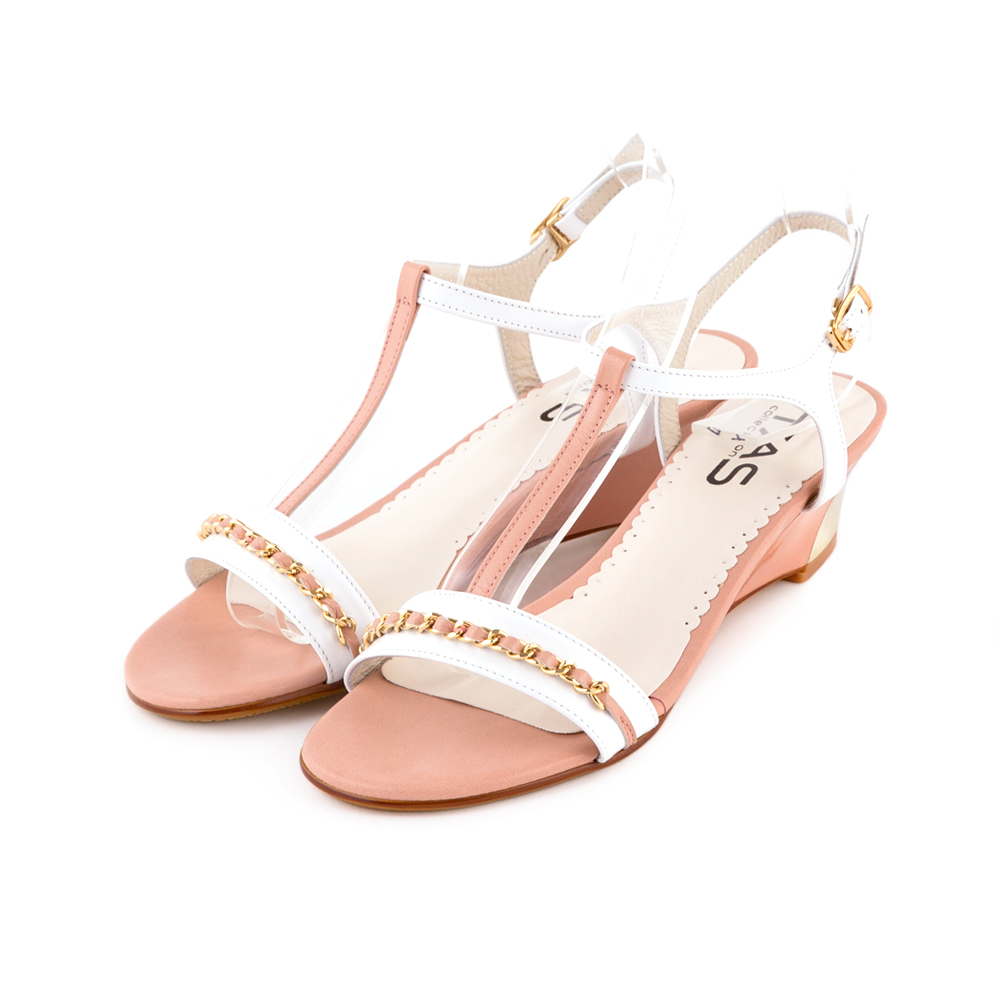 TAS T字雙色拼接雅緻金屬飾鍊楔型涼鞋-浪漫粉