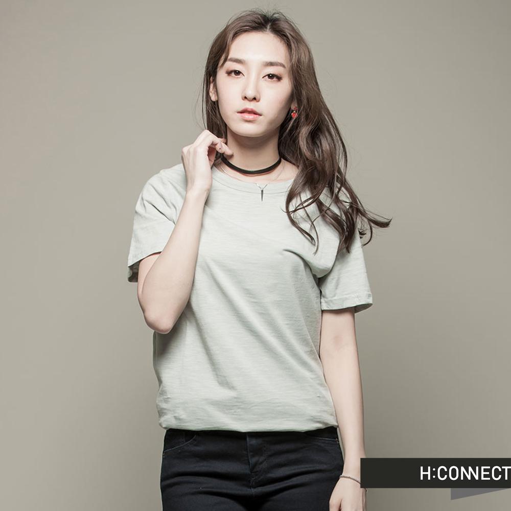 H:CONNECT 韓國品牌 女裝 - 素面混紡短袖上衣 - 綠(快)