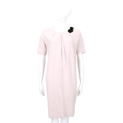 Max Mara 粉色亮片珠花飾抓摺短袖洋裝
