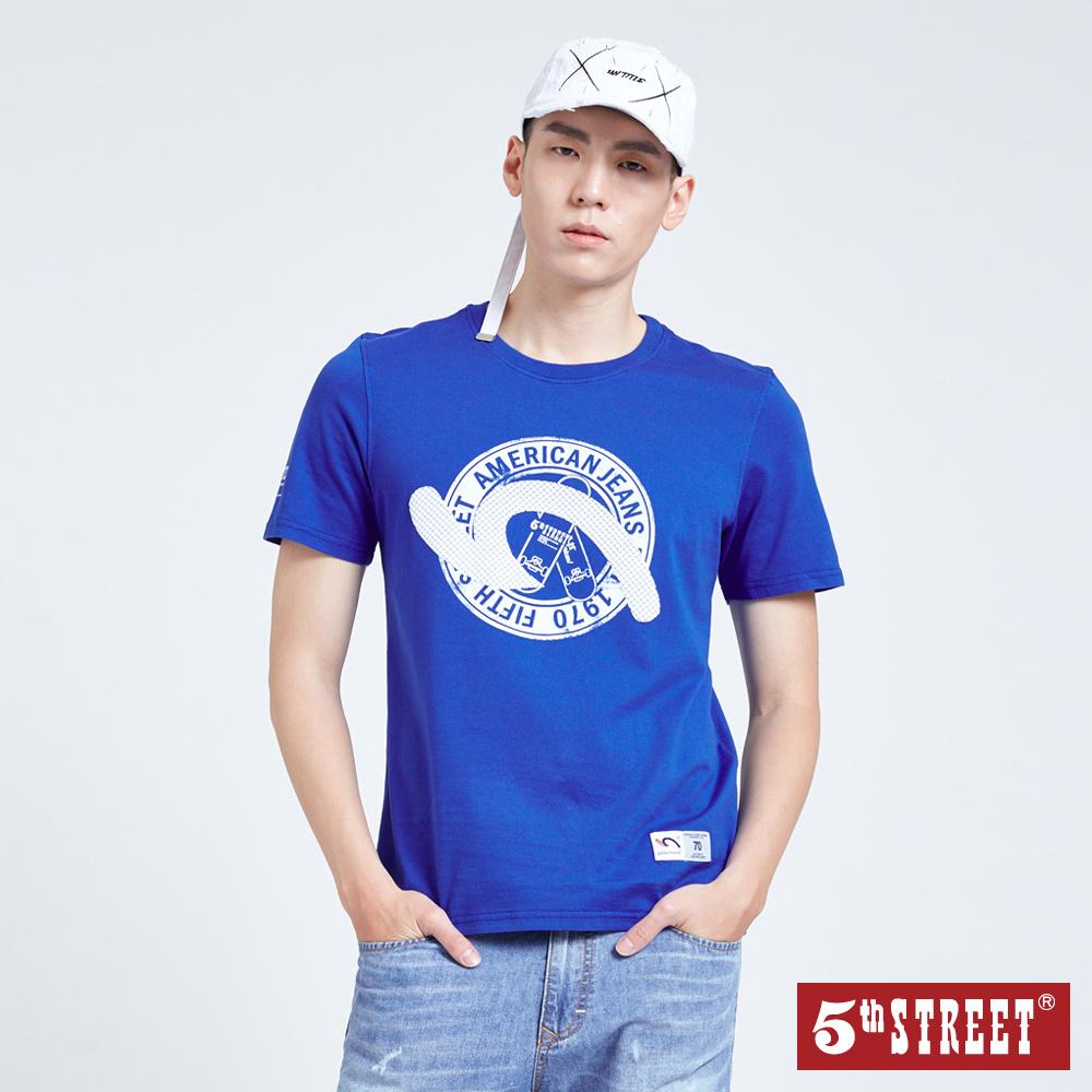 5th STREET 滑板袋花短袖T恤-男-寶藍色