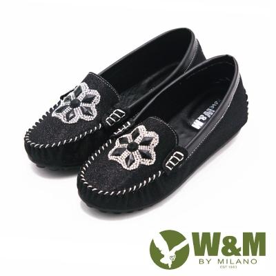 W&M 閃亮亮水鑽豆豆鞋娃娃鞋 女鞋-黑(另有銀)