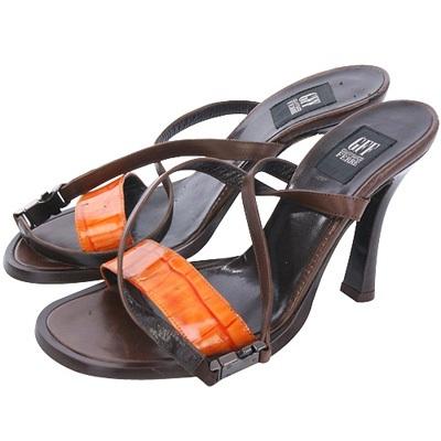 GFF 咖x橘色拼接壓紋繫帶高跟涼鞋(展示品)