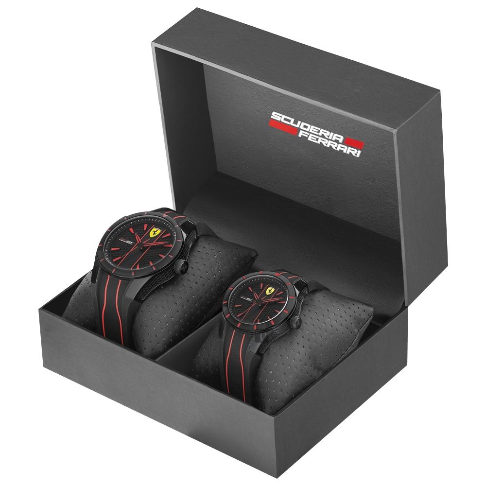 Scuderia Ferrari 法拉利 Red Rev 奔馳情人對錶-44+38mm