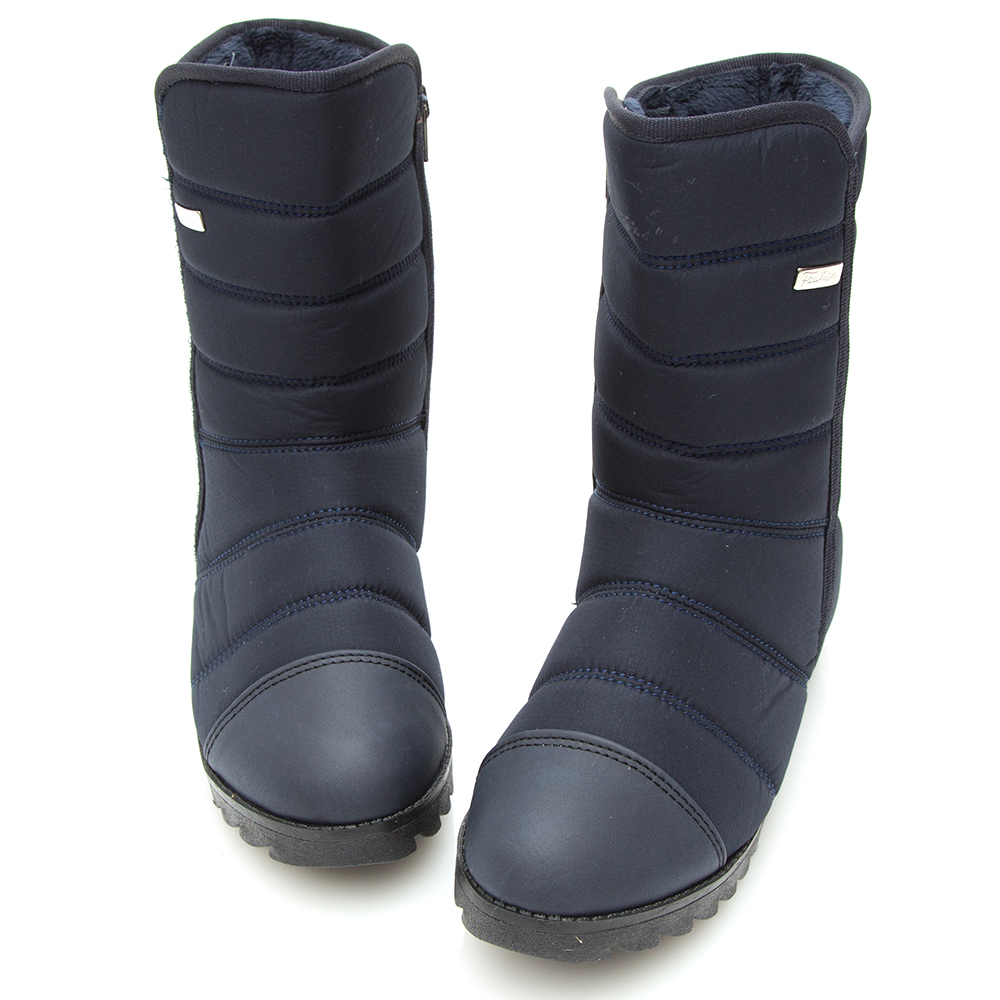 Camille's 韓國空運-正韓製-高低口內增高太空雪靴-深藍