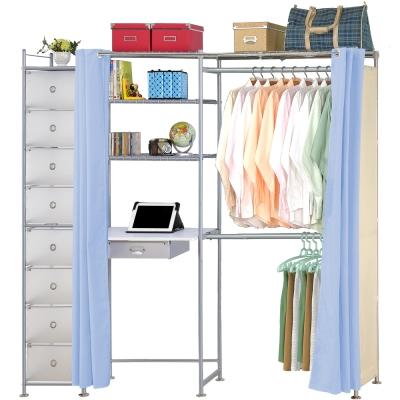 巴塞隆納-E60型防塵伸縮電腦桌衣櫥架(附抽屜櫃)