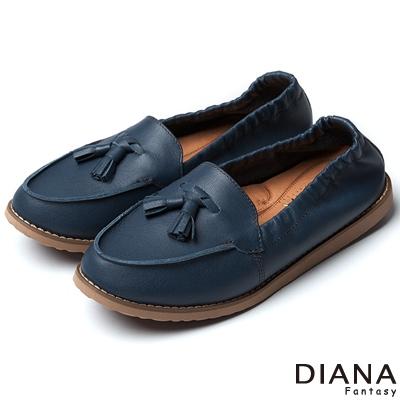 DIANA-超厚切焦糖獅子-流蘇鬆緊帶真皮平底鞋