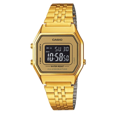 CASIO 經典復古數字型電子錶(LA680WGA-9B)-金色x黃框黑面/28.6mm